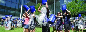 Students at the Yale School of Management participate in the ALS Ice Bucket Challenge. Image courtesy of Insights at SOM.