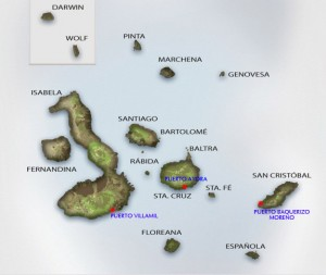 The Galapagos Islands, located west of Ecuador, are the home of Darwin's finches. Image courtesy of Galapagos Expeditions.