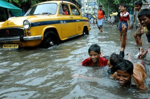 Monsoon storms may displace thousands, or even millions of people due to rain and flood damage. Image courtesy of The Telegraph.
