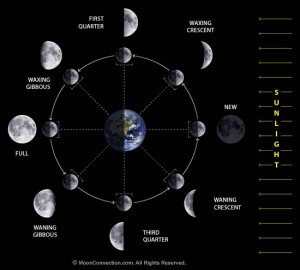 One hemisphere of the moon is always lit by the sun as the moon waxes and wanes. Image courtesy of Moon Connection.