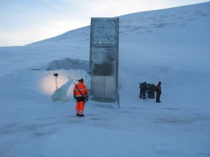 The Svalbard Global Seed Vault in Norway is a secure location containing seeds for more than 300 plant species, many of which are crops. The vault is kept at negative 18 degrees Celsius to preserve the genetic information stored in the seeds. Grass predicts that if stored under conditions similar to those of the Svalbard vault, digitally encoded DNA could last error free for a million years. Image courtesy of Dag Endresen and Wikimedia Commons.