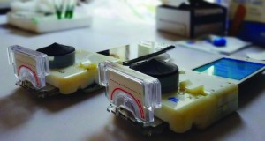 The smartphone attachment device created by Sia's biomedical research team detects HIV and syphilis in patient blood samples. Image courtesy of Samiksha Nayak, Columbia Engineering.