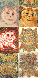 Anthropomorphized cats are a recurrent theme in English artist Louis Wain's work, produced during his stays at various mental institutions. Psychologists have attributed this gradual abstraction as a symptom of his schizophrenia. Image courtesy of Wikimedia.