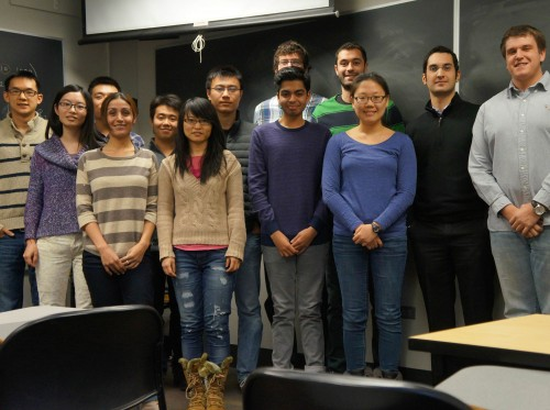 The Keten lab team stands together at Northwestern University in 2014. Robert Sinko and Sinan Keten stand first and second, respectively, from the right. Image courtesy of the Keten lab.