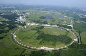 A view of Fermilab from above. Image courtesy of Wikimedia.
