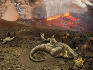 The K-T mass extinction, which wiped out most dinosaurs 65 million years ago, is one example of an instantaneous mass extinction. Image courtesy of Wikimedia Commons