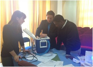 During their research trip in Ethiopia, the team worked at Ayder Referral Hospital to gather feedback on the device design from pediatrician Dr. Tadele (shown at right). Image courtesy of PremieBreathe.