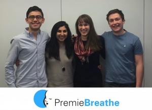 The PremieBreathe team is composed of former and current Yale students (from left to right): Charles Stone, Shirin Ahmed, Katy Chan, and Jordan Sabin. Other team members (not shown) include David Wang, Maddie Knapp, and Medha Vyavahare. Image courtesy of PremieBreathe.