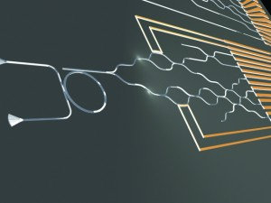 In the future, quantum chips could look as symmetric as the standard green chips in our computer today. The only difference: instead of electrons zooming around, entangled pairs of photons will do the complex calculations needed to create a better world. Image courtesy of Carsten Schuck