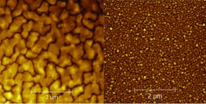 Layers of metal created through magnetron sputtering, shown up close through atomic force microscopy. Image courtesy of Wikimedia.