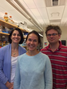Christine Jacobs-Wagner (left), Professor of Microbiology at Yale University, poses with graduate student Molly Scott (center) and postdoctoral fellow Brandon Jutras (right). The team recently discovered a novel mode of cell growth and division in the bacterium Borrelia burgdorferi.